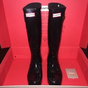 Hunter Original Tall Gloss Rain Boots (Black)